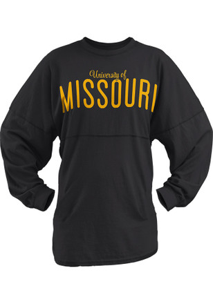 Mizzou Tigers Womens University Script Black LS Tee