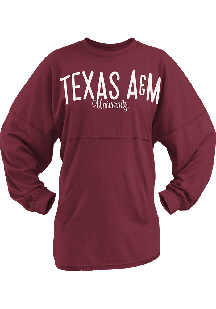 Texas A&M Aggies Juniors Maroon University Script LS Tee 22641837