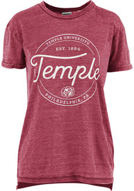 Temple Owls Womens Ella Seal T-Shirt - Red