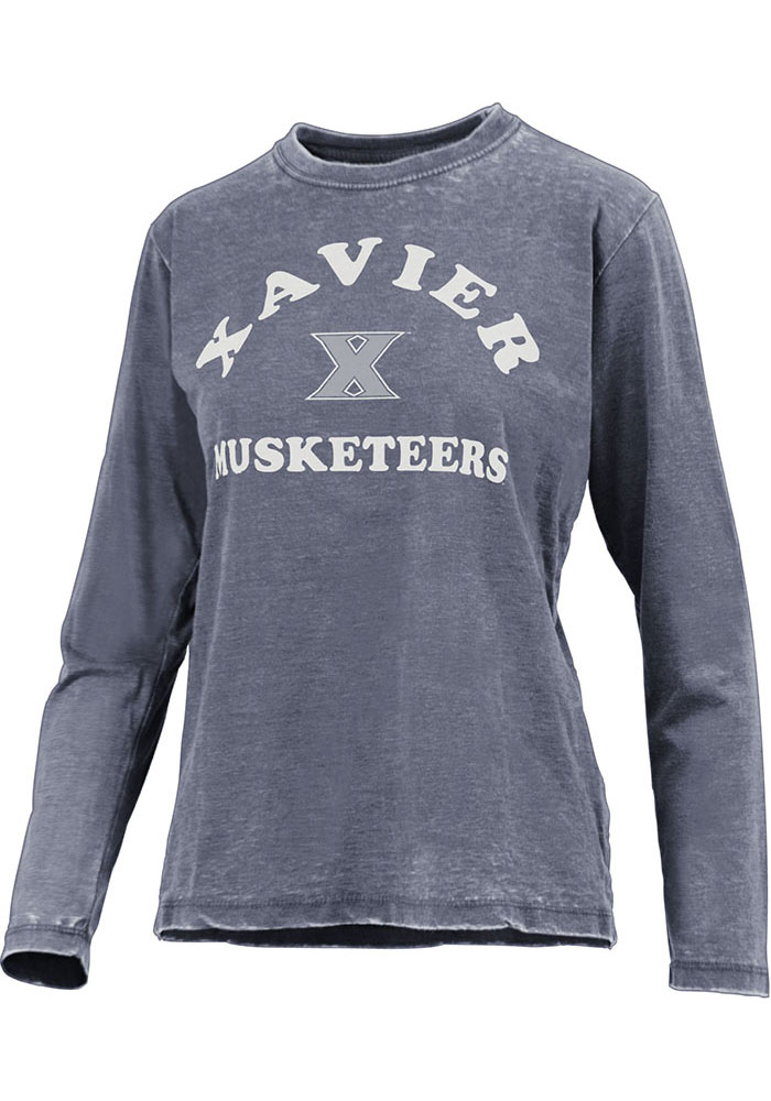 Xavier Musketeers Womens Vintage Burnout T-Shirt - Navy Blue