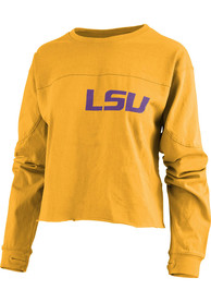 LSU Tigers Womens Fight Song Cropped T-Shirt - Gold