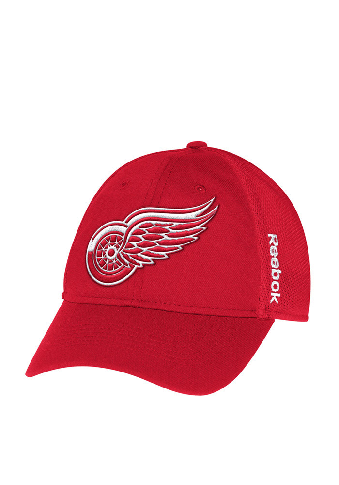 Reebok Detroit Red Wings Mens Red Center Ice Player Flex Hat - Image 1