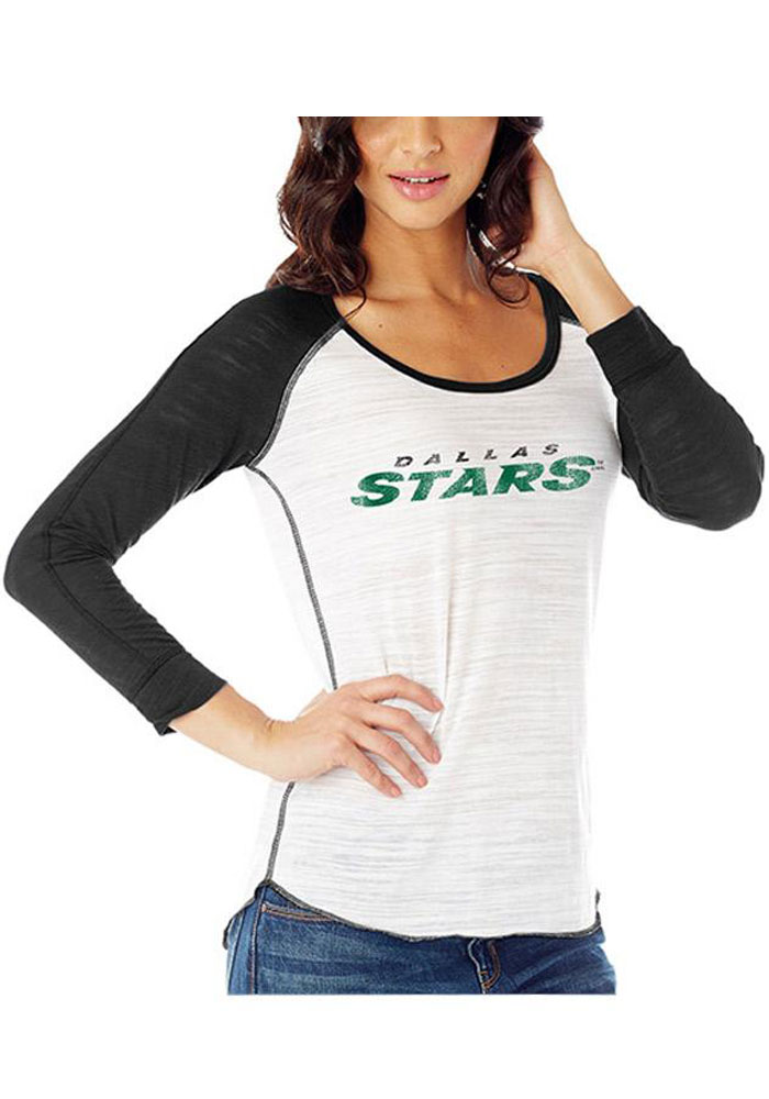 Dallas Stars Womens White Distressed Jersey Long Sleeve Women's Scoop - Image 1