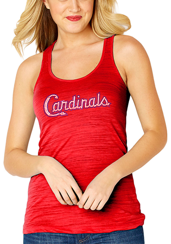 St Louis Cardinals Womens Red Sequin Jersey Tank Top - Image 1