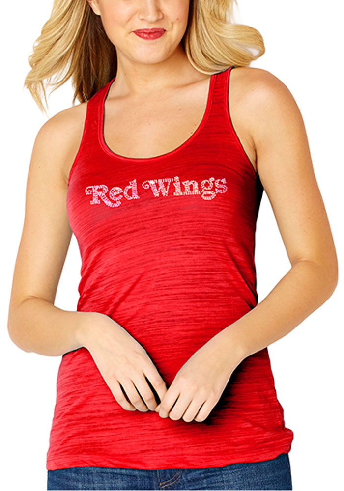 Detroit Red Wings Womens Red Sequin Jersey Tank Top - Image 1