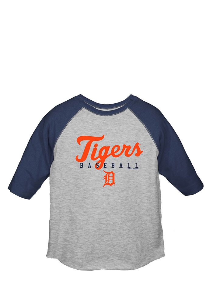 Detroit Tigers Toddler Navy Blue Simple Script Long Sleeve T-Shirt - Image 1