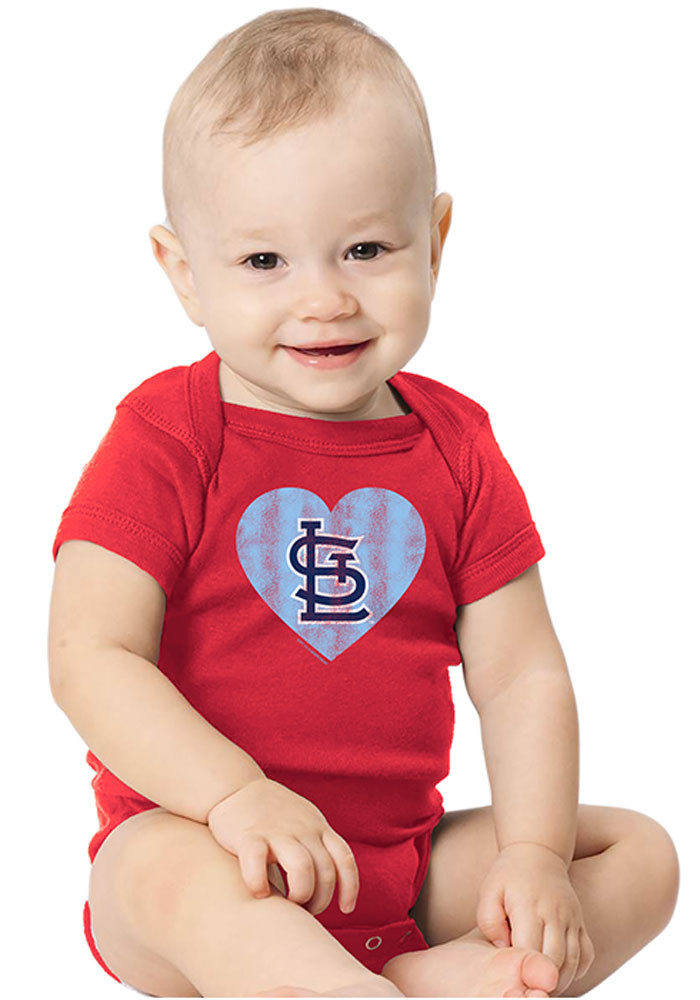 St Louis Cardinals Baby Red Heart Short Sleeve Creeper - Image 1