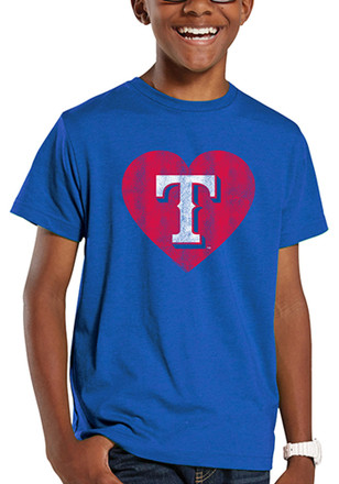 Texas Rangers Kids Blue Heart Fashion Tee