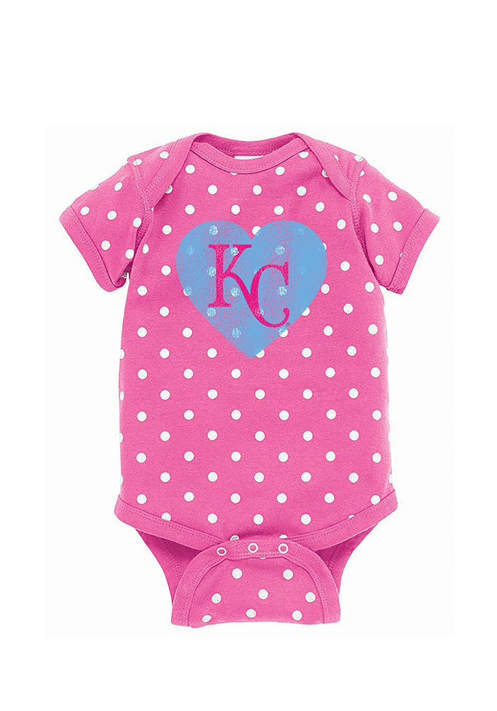 Kansas City Royals Baby Pink Polka Dot Love Short Sleeve One Piece - Image 1