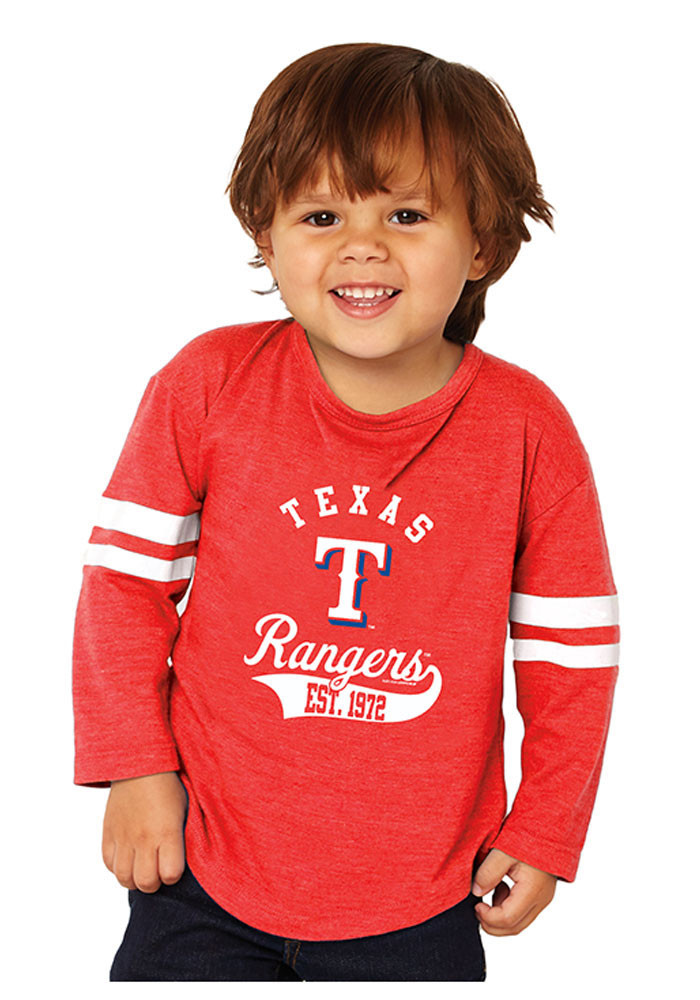 Texas Rangers Toddler Red Striped Sleeve Long Sleeve T-Shirt - Image 1