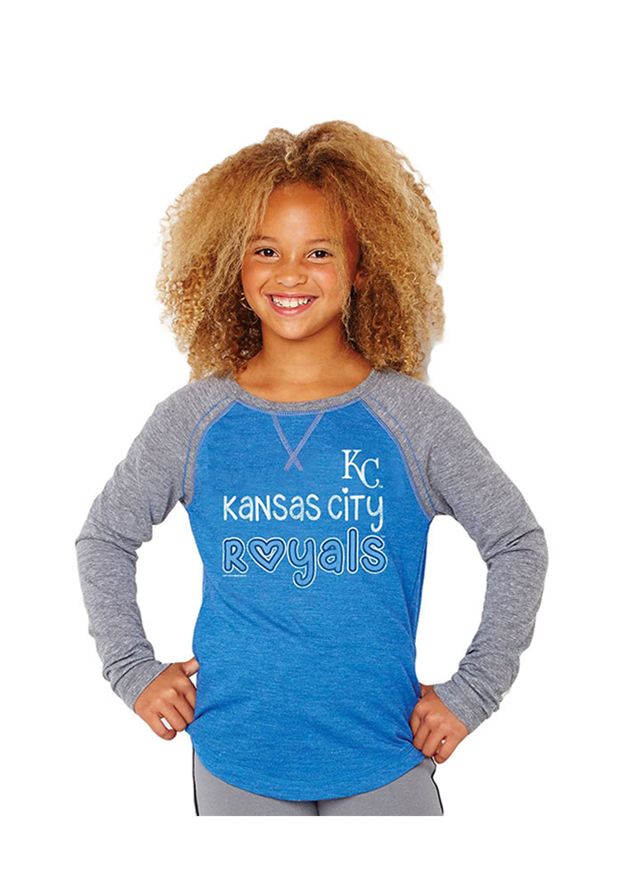 Kansas City Royals Girls Blue Baseball Long Sleeve T-shirt - Image 1