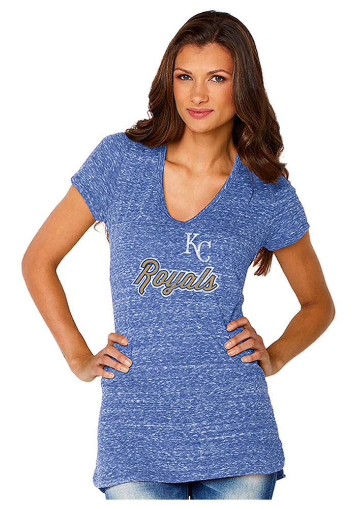 Kansas City Royals Womens Blue Shadow Jersey V-Neck - Image 1