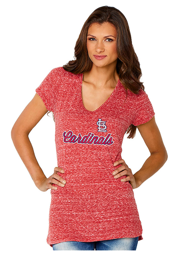 St Louis Cardinals Womens Red Shadow Jersey V-Neck - Image 1