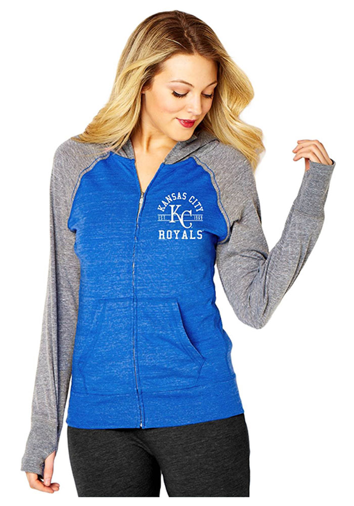 Kansas City Royals Womens Blue Raglan Long Sleeve Full Zip Jacket - Image 1