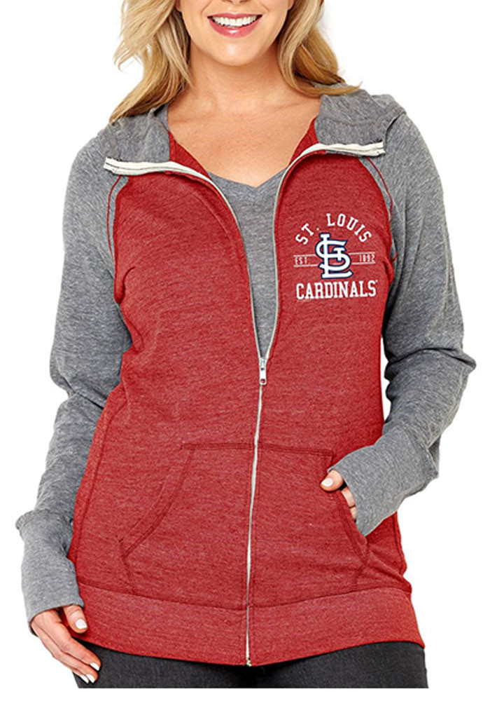 St Louis Cardinals Womens Red Color Blocked Long Sleeve Full Zip Jacket - Image 1
