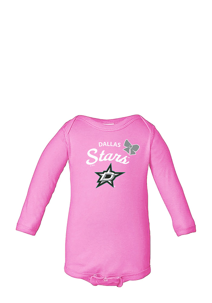 Dallas Stars Baby Pink Bow LS Tops LS One Piece - Image 1