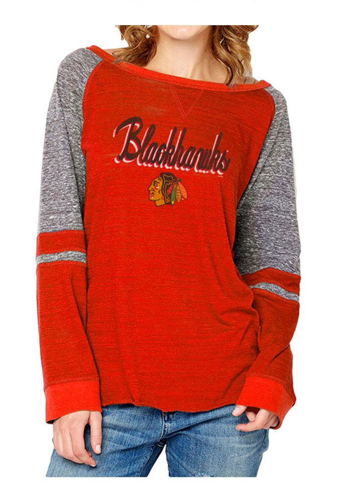 Chicago Blackhawks Womens Red Mix Fabric Long Sleeve Women's Crew - Image 1