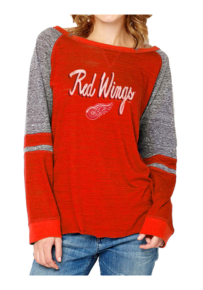 Detroit Red Wings Womens Red Mix Fabric Women's Crew