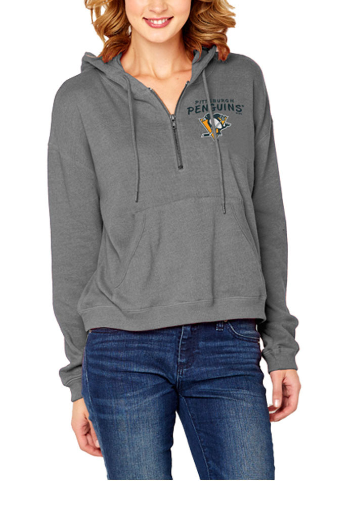 Pittsburgh Penguins Womens Grey Vintage Fleece 1/4 Zip Pullover - Image 1