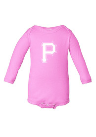 Pittsburgh Pirates Baby Pink Lap-Shoulder LS One Piece
