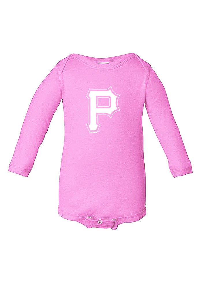 Pittsburgh Pirates Baby Pink Lap-Shoulder LS Tops LS One Piece - Image 1