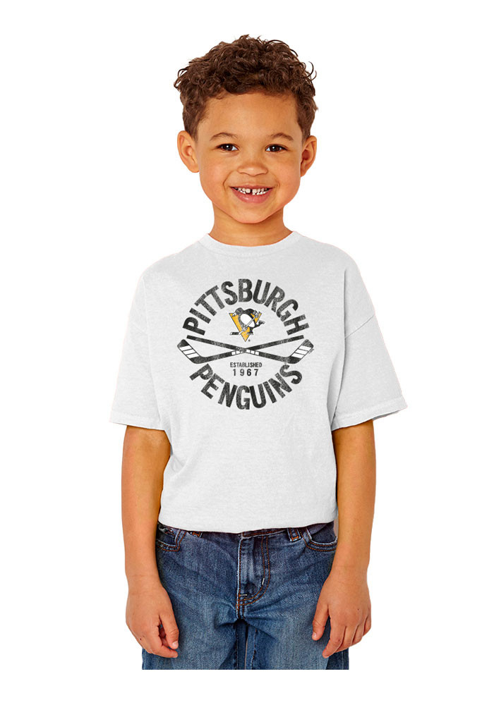 Pittsburgh Penguins Kids White Circle Cross Short Sleeve T-Shirt - Image 1