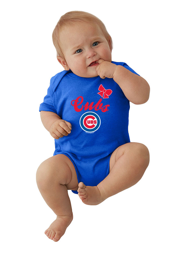 Chicago Cubs Baby Blue Arched Bow Short Sleeve Creeper - Image 1