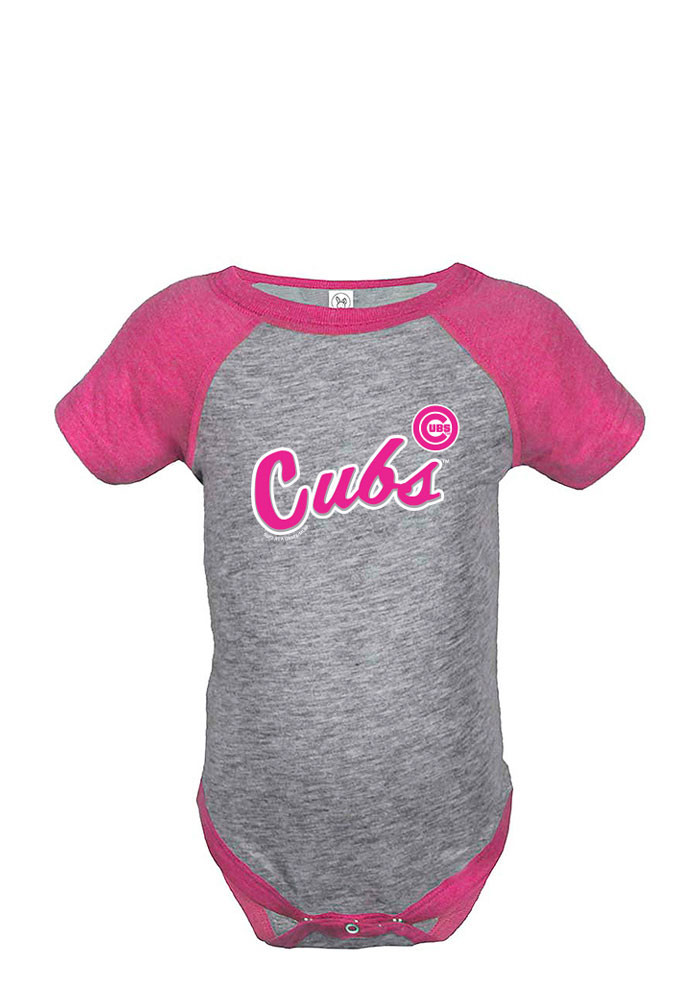 Chicago Cubs Baby Pink Script Short Sleeve Creeper - Image 1
