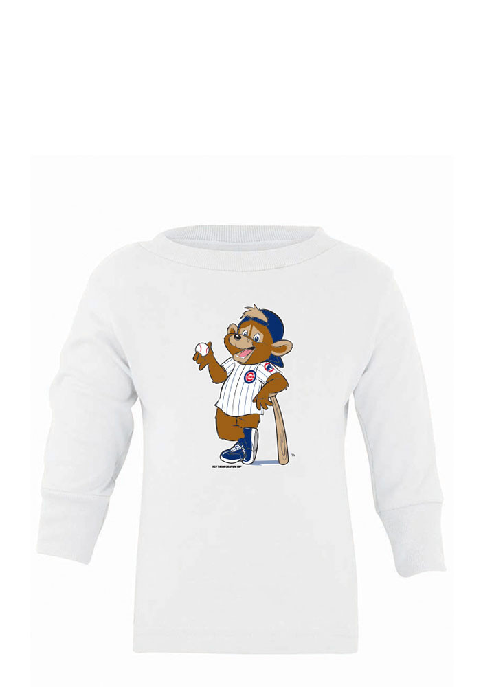 Chicago Cubs Baby White Mascot Long Sleeve T-Shirt - Image 1