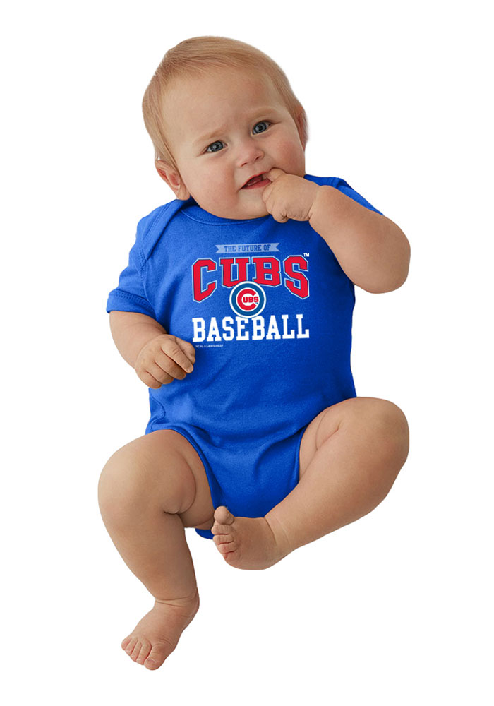 Chicago Cubs Baby Blue Basic Straight Short Sleeve Creeper - Image 1