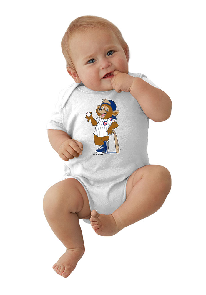 Chicago Cubs Baby White Mascot Short Sleeve Creeper - Image 1