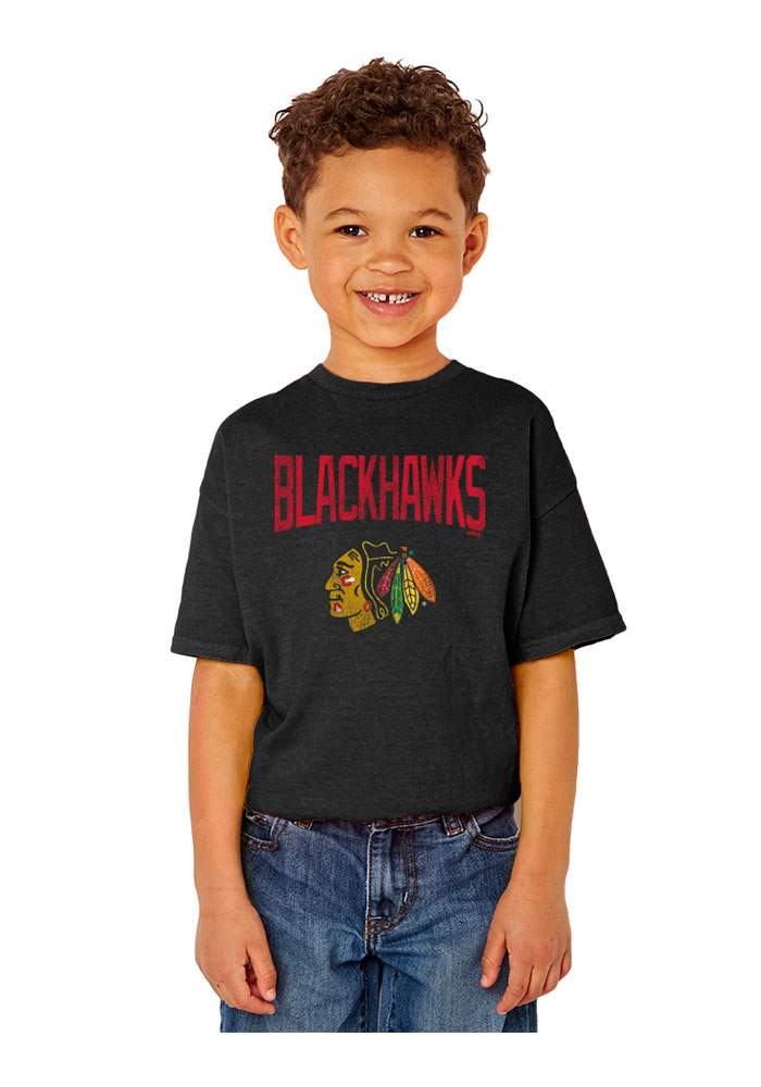 Chicago Blackhawks Youth Black Bold Arch T-Shirt