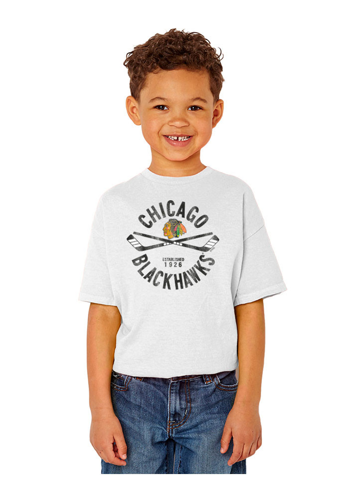 Chicago Blackhawks Youth White Circle Cross Short Sleeve T-Shirt - Image 1