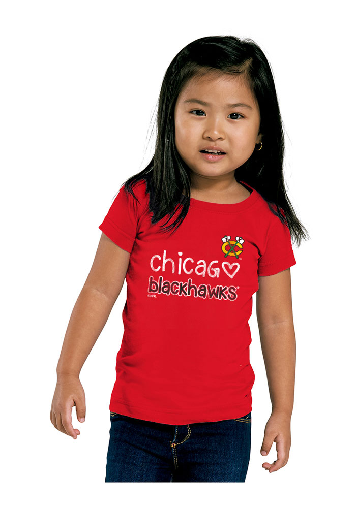 Chicago Blackhawks Toddler Girls Red Heart Straight Short Sleeve T-Shirt - Image 1