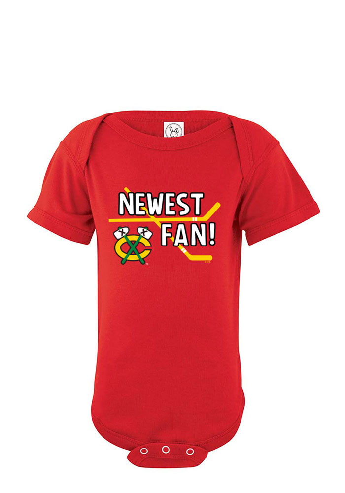 Chicago Blackhawks Baby Red Newest Fan Short Sleeve Creeper - Image 1