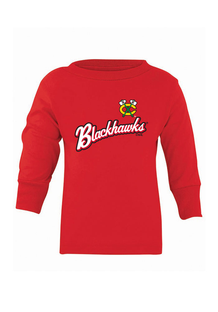 Chicago Blackhawks Baby Red Script Long Sleeve T-Shirt - Image 1