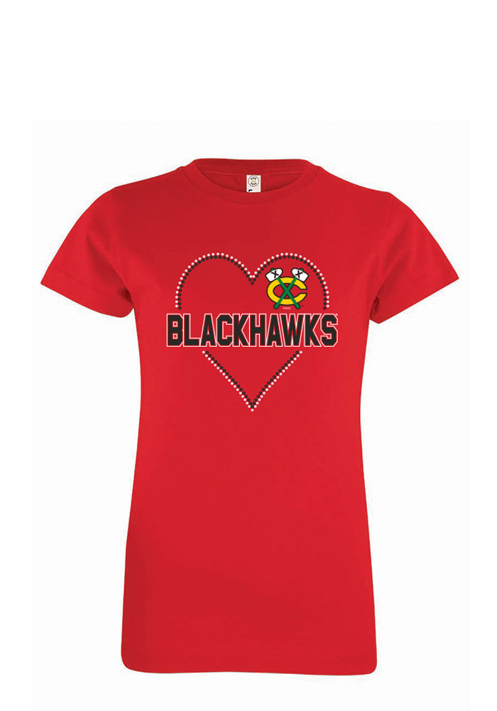 Chicago Blackhawks Girls Red Sequin Heart Short Sleeve Tee - Image 1