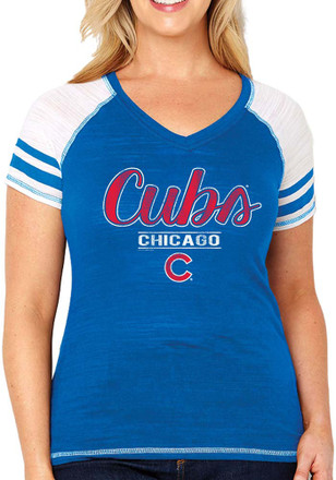 Chicago Cubs Womens Curvy Multi Count Blue Short Sleeve Plus Tee