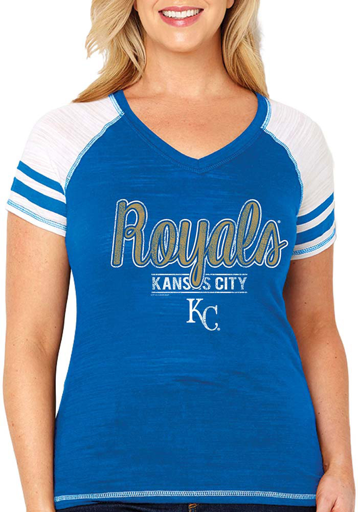 KC Royals Womens Curvy Multi Count Blue Short Sleeve Plus Tee