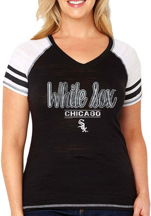White Sox Womens Curvy Multi Count Black Short Sleeve Plus Tee