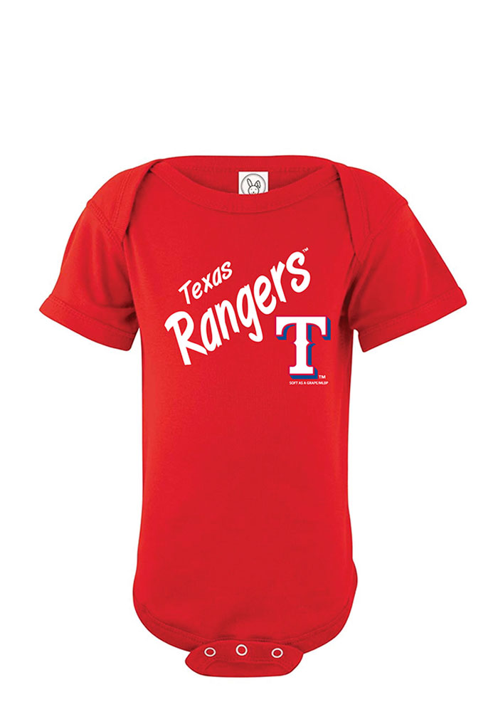 Texas Rangers Baby Red Arched Bow Short Sleeve One Piece - Image 1