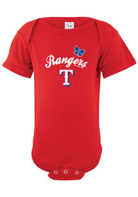 Texas Rangers Baby Red Slant One Piece