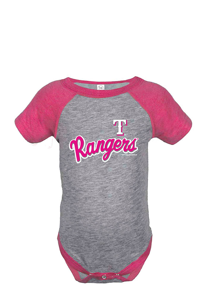 Texas Rangers Baby Pink Script Short Sleeve Creeper - Image 1
