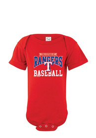 Texas Rangers Baby Red Basic Straight One Piece