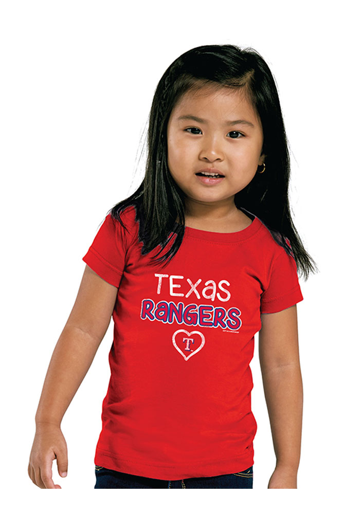 Texas Rangers Toddler Girls Red Basic Heart Short Sleeve T-Shirt - Image 1