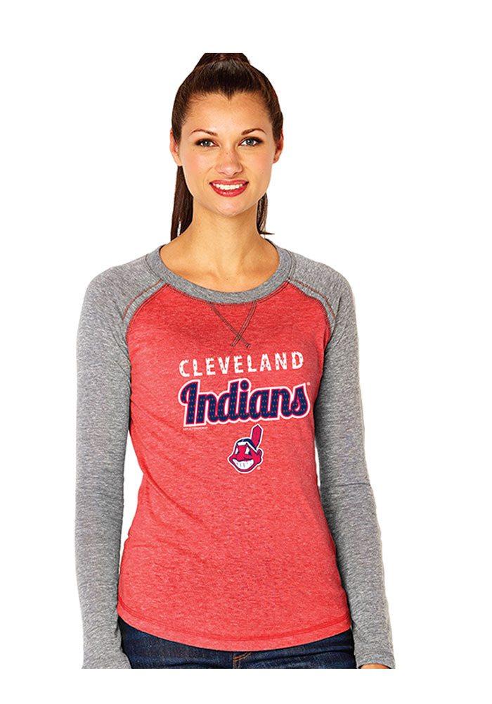 Cleveland Indians Womens Red Triblend Long Sleeve Women's Crew 22651013