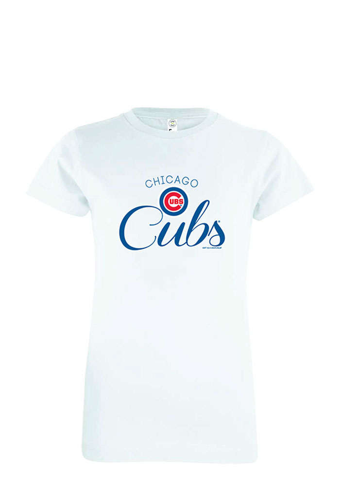 Chicago Cubs Girls White Jersey Short Sleeve Tee - Image 1