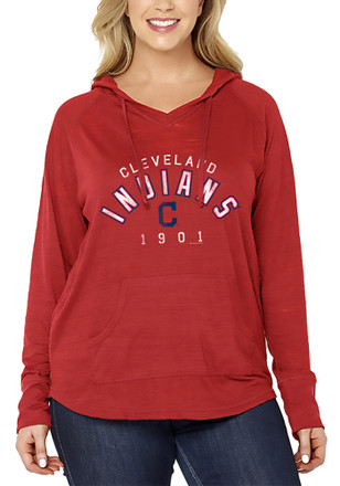 Cleveland Indians Womens Red Arch Wordmark Plus Size Hoodie