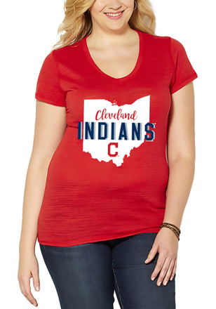 Cleveland Indians Womens State Shape Red Short Sleeve Plus Tee