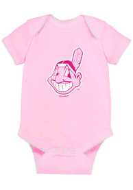 Cleveland Indians Baby Pink Picot One Piece